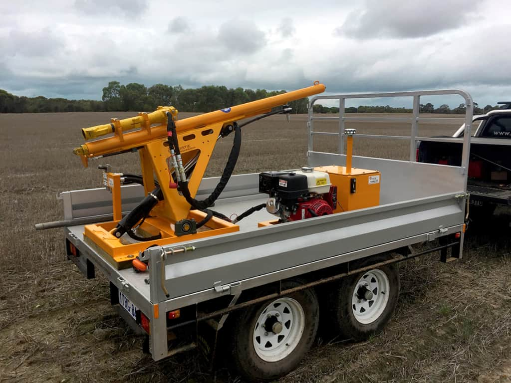 Hydraulic Soil Corer on Environmental & Cropping Technologies Custom Built Trailer